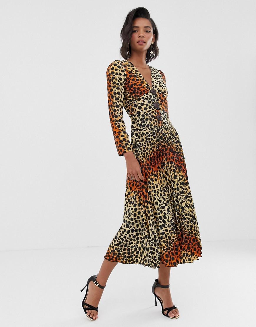 auténtico obtener nueva nueva lanzamiento Vestido largo con pliegues, botones de coco y estampado de leopardo de ASOS  DESIGN