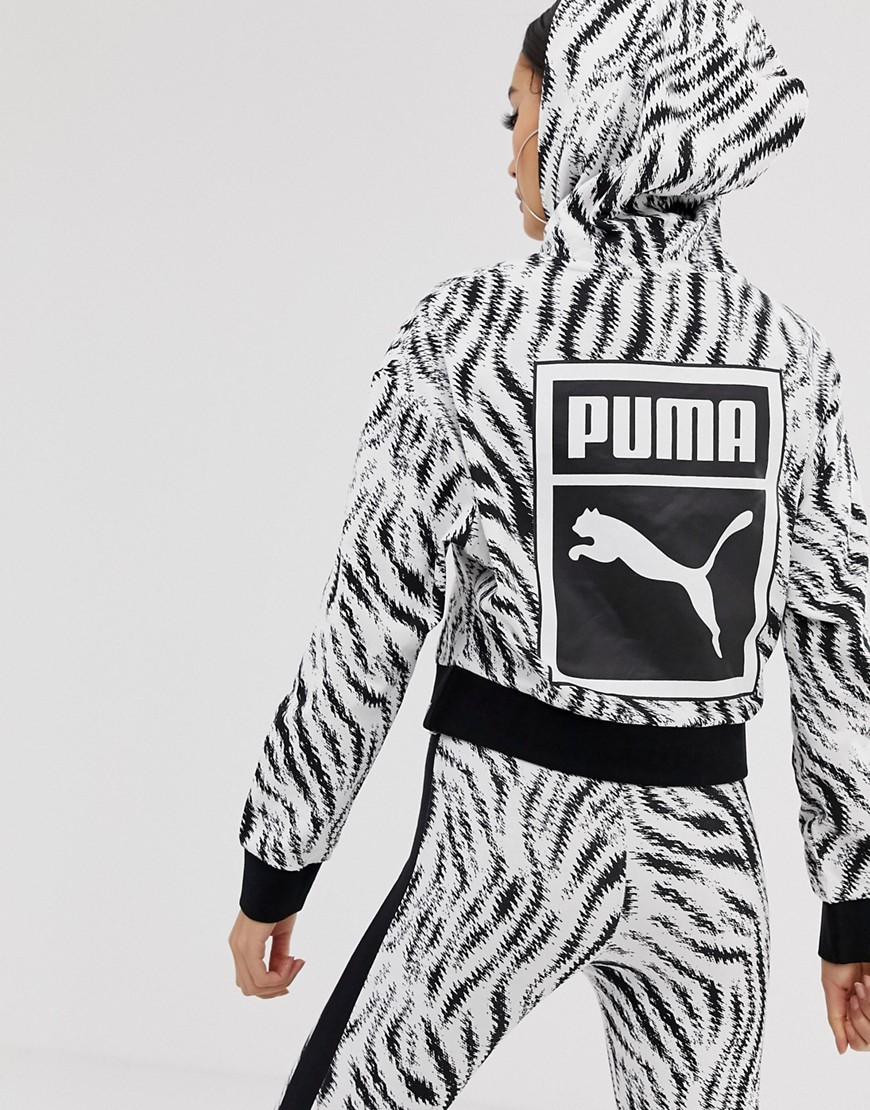 venta más barata En liquidación compra original Sudadera corta con capucha y estampado de cebra de Puma