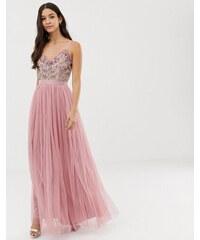 7fd9e748e44f Vestido largo de tul de dama de honor con escote en V en gris pastel ...