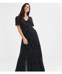 Vestido midi de lunares texturizados con cintura anudada de Y.A.S asos negro Lunares
