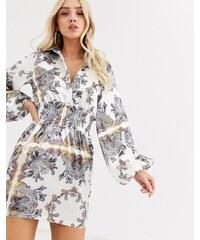 Vestido camisola midi con mezcla de estampados florales y