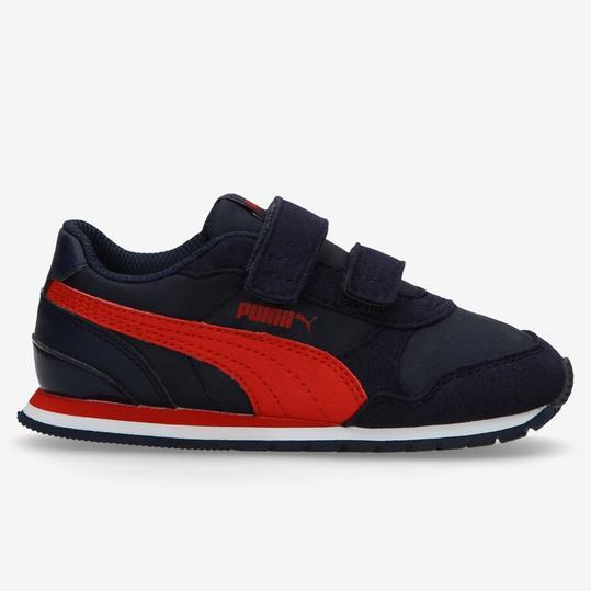 Puma ST Runner Marino Rojo Zapatillas Velcro Niño