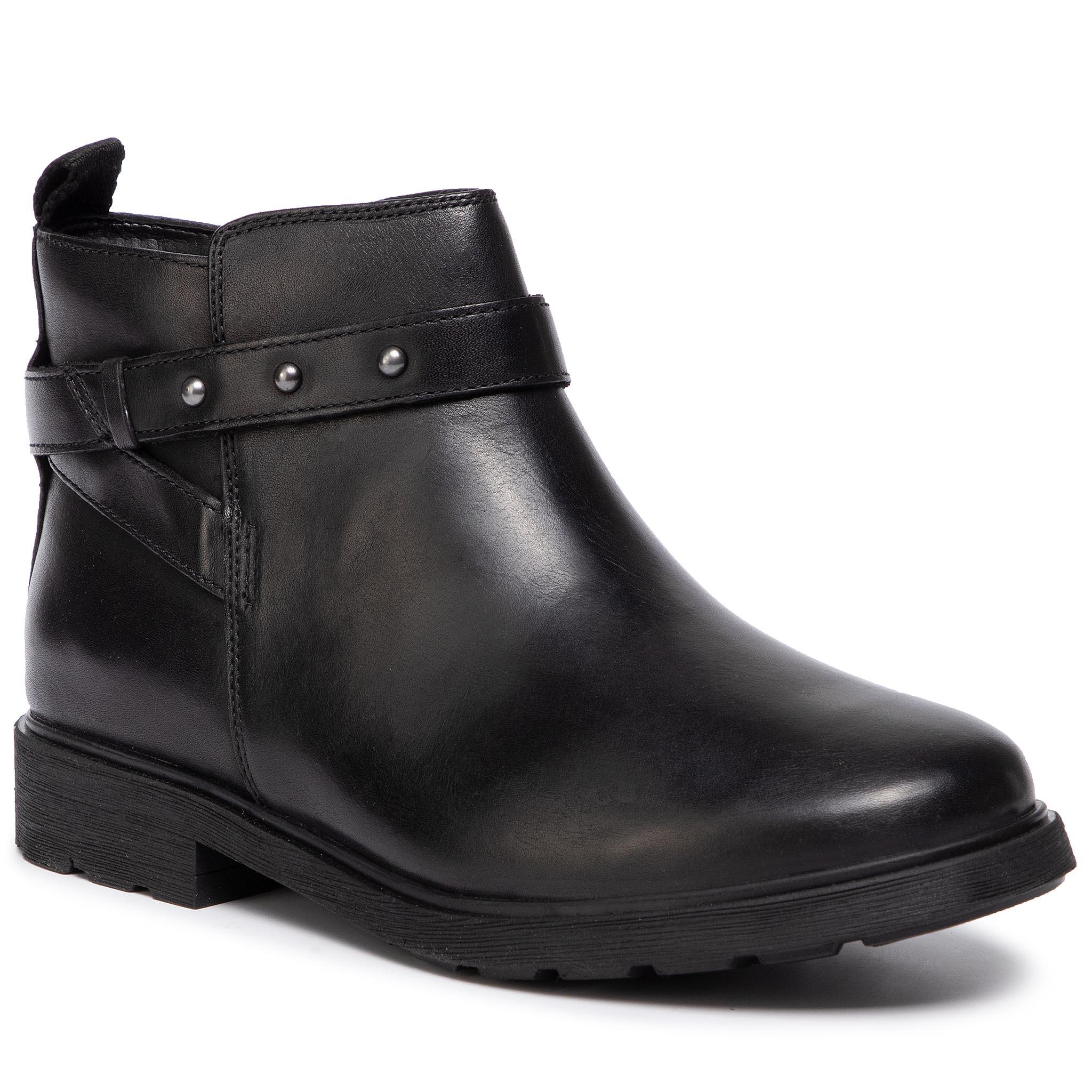 Botas CLARKS Poise Freya 261360064 Black Leather Negro cuero