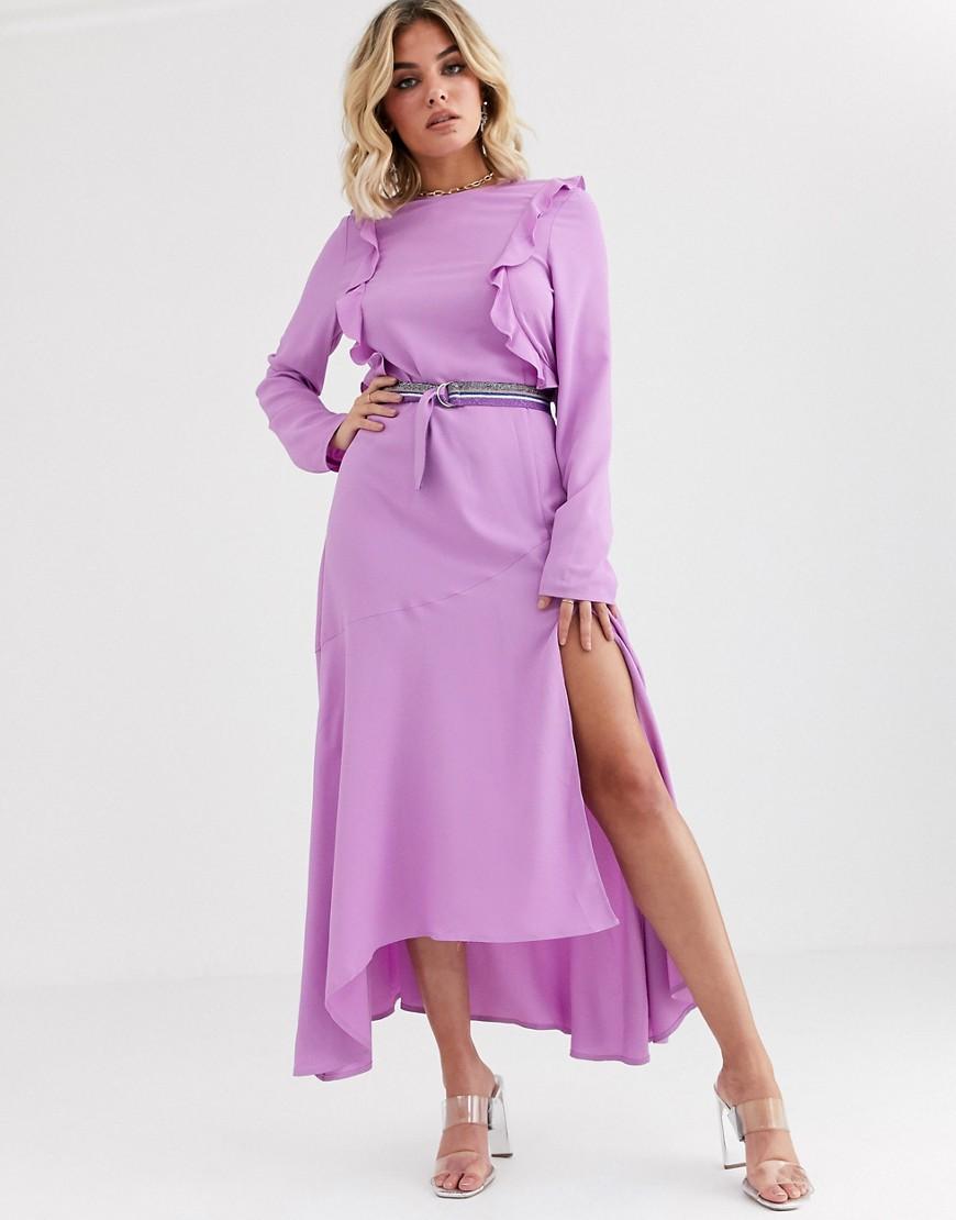 Vestido midi de tirantes de encaje con volantes en lila de Missguided asos violeta Midi