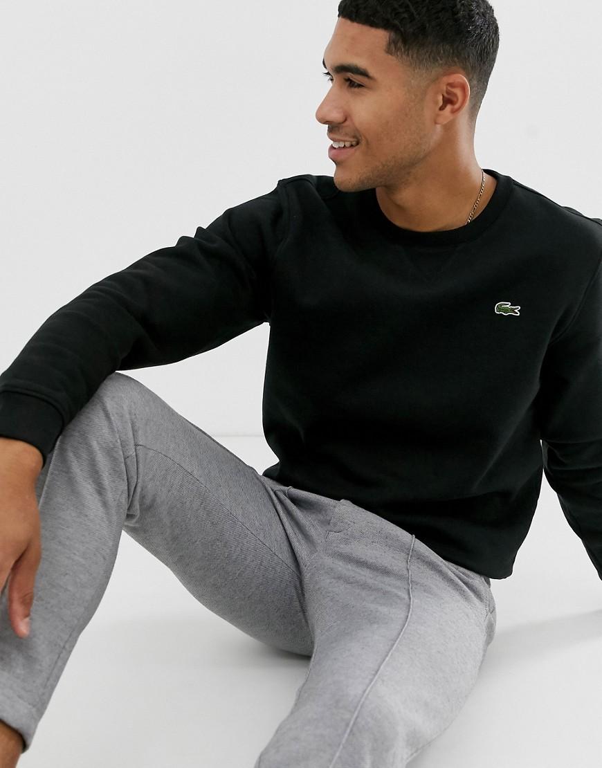 último descuento último diseño busca lo mejor Lacoste Sport Sudadera negra con cuello redondo y logo de Lacoste