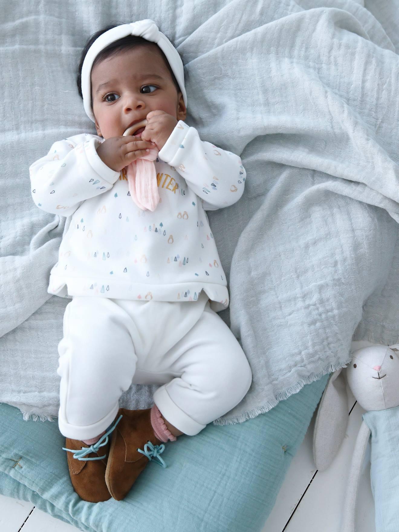 Conjunto de camisa + pantalón bebé niño BLANCO CLARO LISO