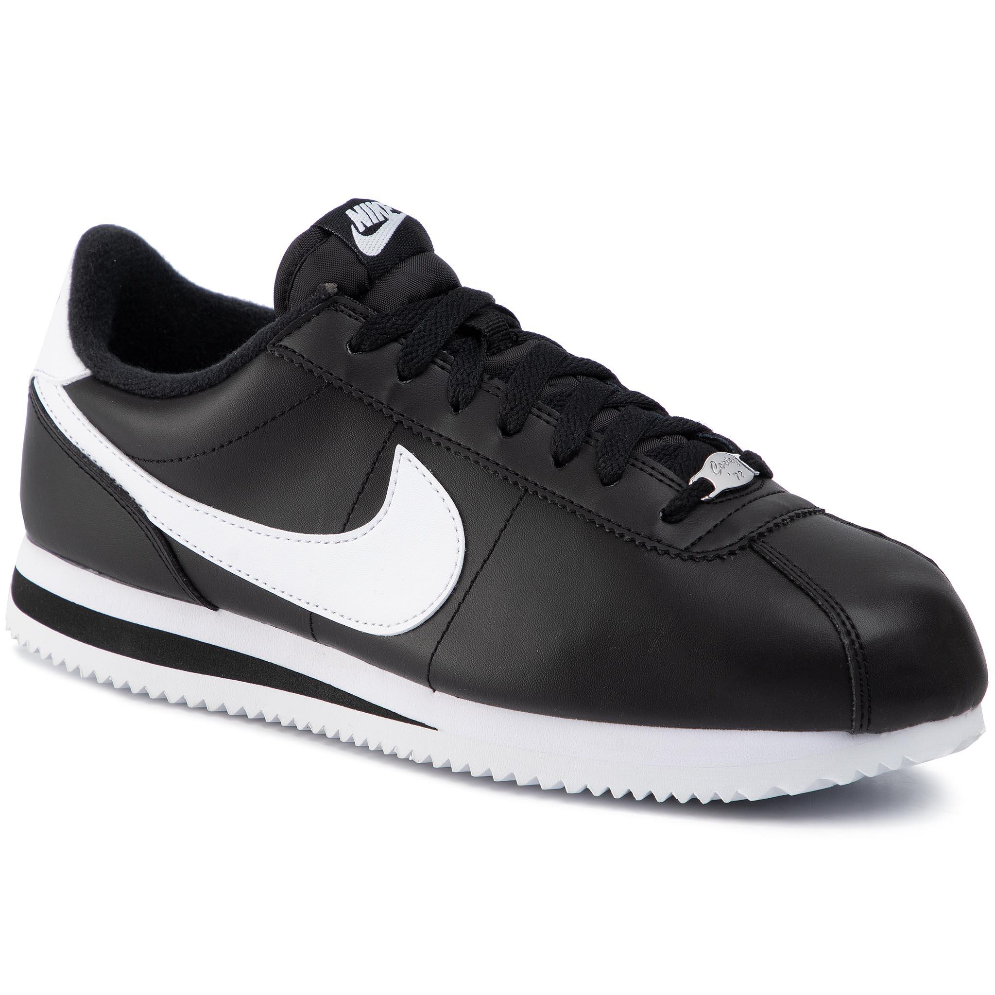 Zapatos NIKE Cortez Basic Leather 819719 012 BlackWhiteMetallic Silver