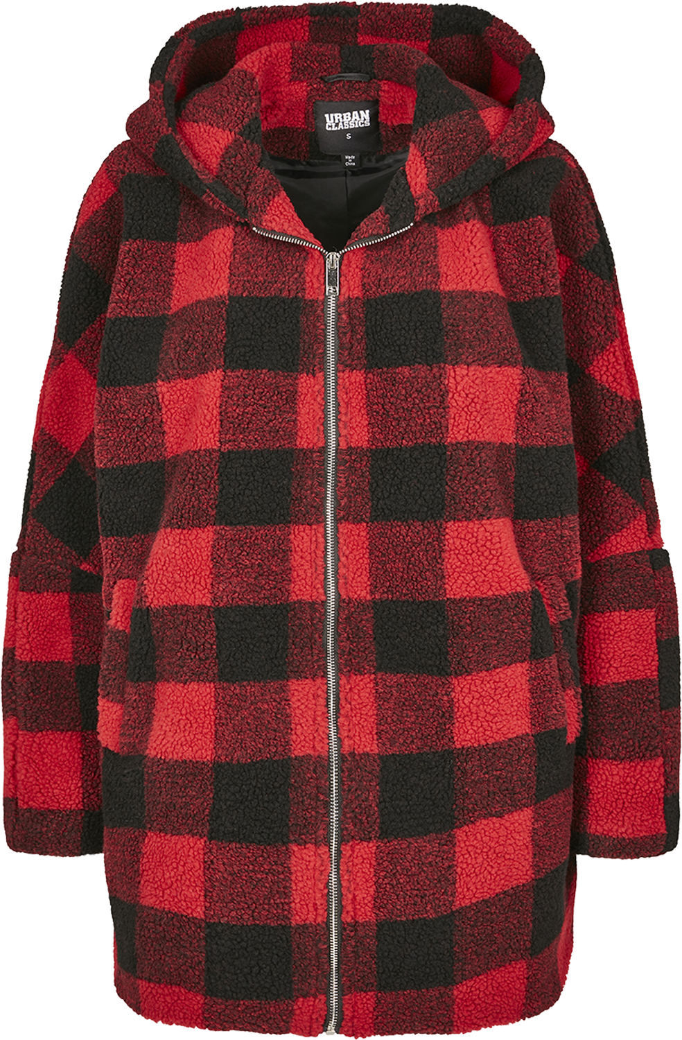 Urban Classics Ladies Hooded Oversized Check Sherpa Chaqueta de Invierno rojonegro