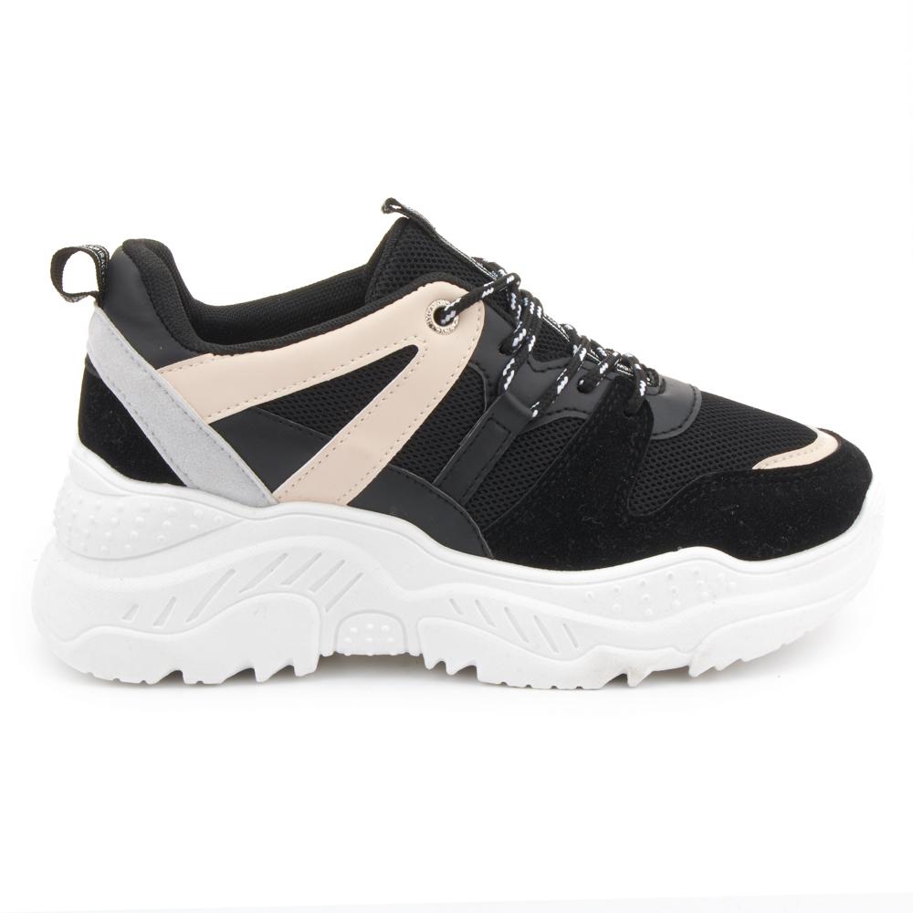 Sneaker plataforma bandas NYC merkal calzados negro Cordones
