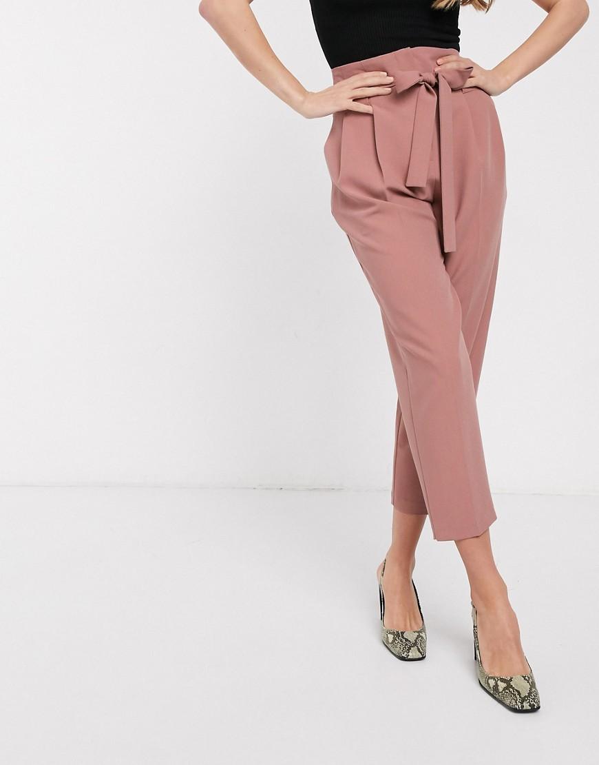 Pantalones Tobilleros Tapered De Sastre Con Cintura Anudada De Asos Design Rosa Glami Es