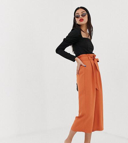 Falda Pantalon Naranja Con Cinturon De Stradivarius Glami Es