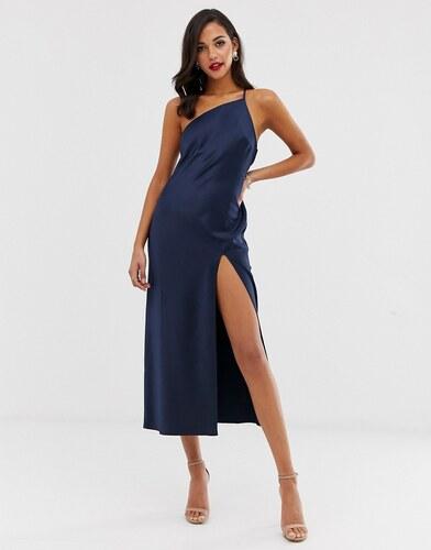 liquidación de venta caliente pero no vulgar estilo distintivo Vestido asimétrico semilargo de satén con espalda drapeada ...