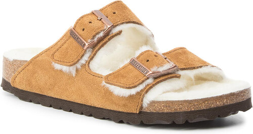 solamente cualquier cosa sostén  Pantuflas BIRKENSTOCK - Arizona Fur 1001135 Mink - GLAMI.es