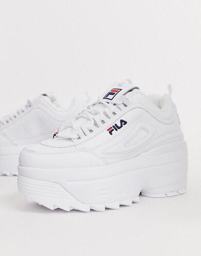 Zapatillas blancas con cuña y plataforma Disruptor II de