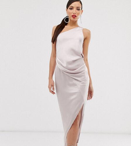 Tienda online atarse en Código promocional ASOS Tall Vestido midi asimétrico drapeado en satén de ASOS ...