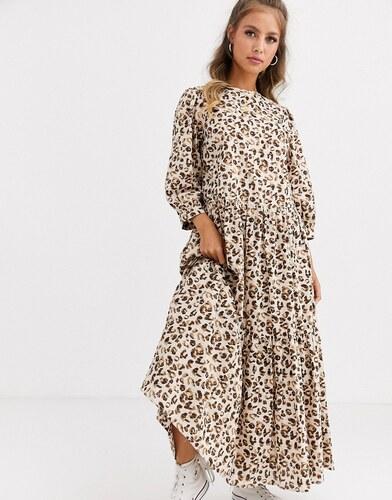 vívido y de gran estilo siempre popular mejor valor Vestido largo a capas con estampado de leopardo de ASOS ...