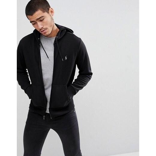 Sudadera negra con capucha, cremallera y logo de jugador de