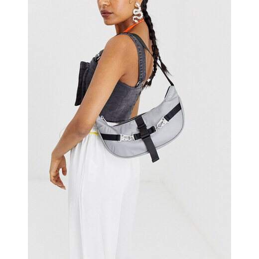 Bolso de hombro estilo años 90 con diseño fruncido en beis de ASOS DESIGN